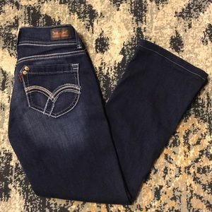 3/$22 7M Levi 524 Too Superlow Dark Boot Cut Jeans